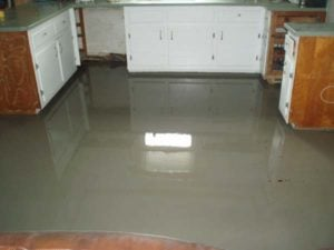 Self leveling concrete covering metal lath