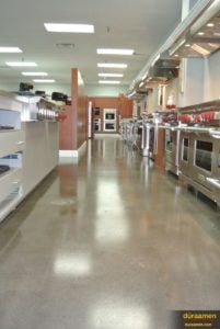 L. H. Brubaker appliance store with a polished concrete floor.