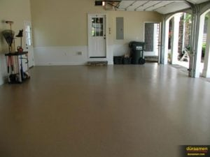 Duraamen's garage floor epoxy coating system is available in many colors with many color variations of resin chips so you can achieve a look that matches your home.