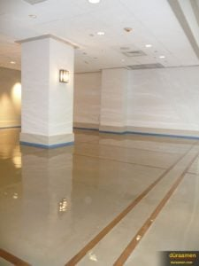 The high gloss decorative floor of this wedding hall is actually an industrial coating.